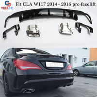 fit Mercedes W117 CLA Class Rear Bumper Diffuser with 4 outlet Exhaust Endpipe 2014 2015 2016 CLA180 CLA200 CLA250 CLA45 Sport