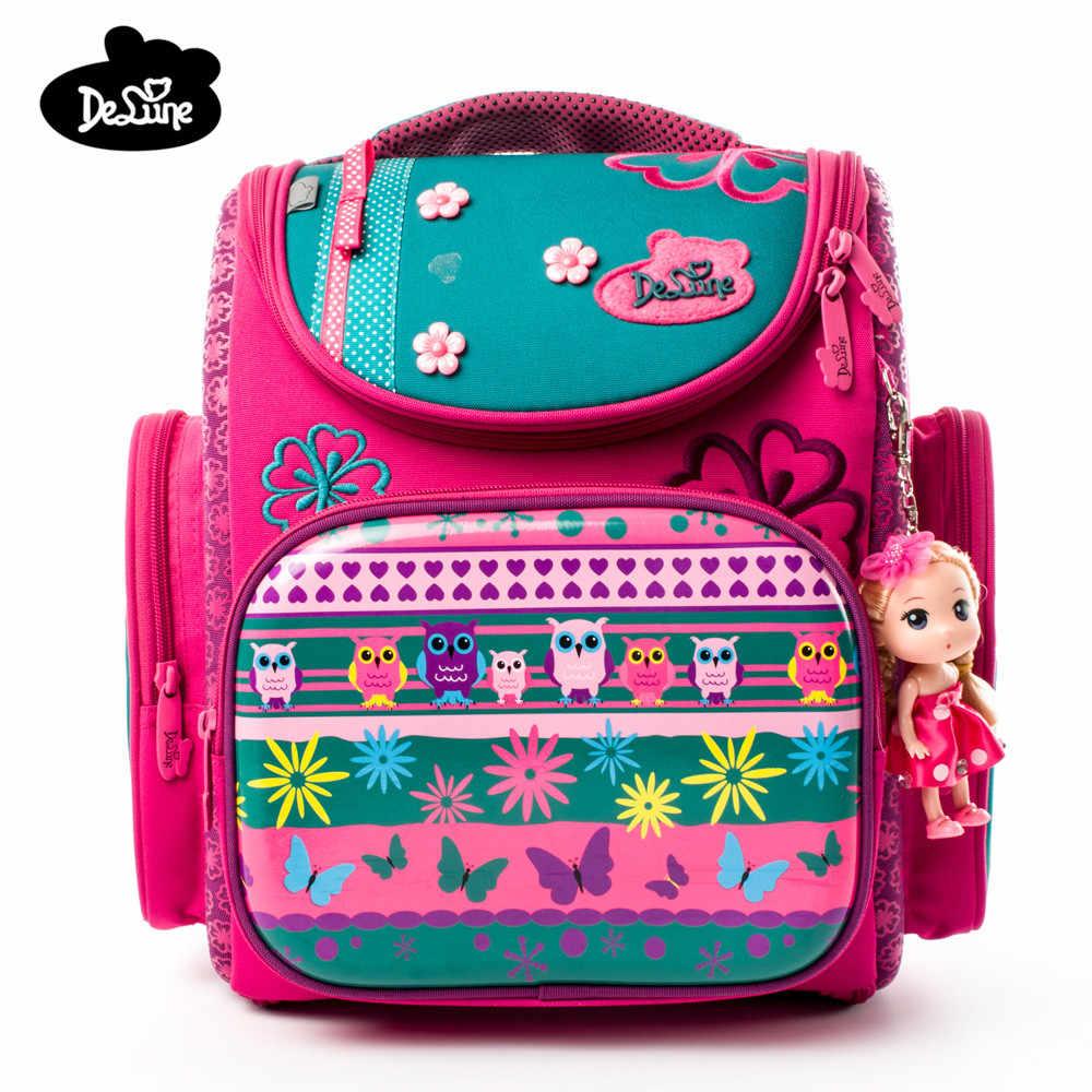a23c8ae3b872 2018 Delune Заводская розетка бренд 1-3 мальчики девочки мультфильм школьные  сумки ортопедический рюкзак 3D