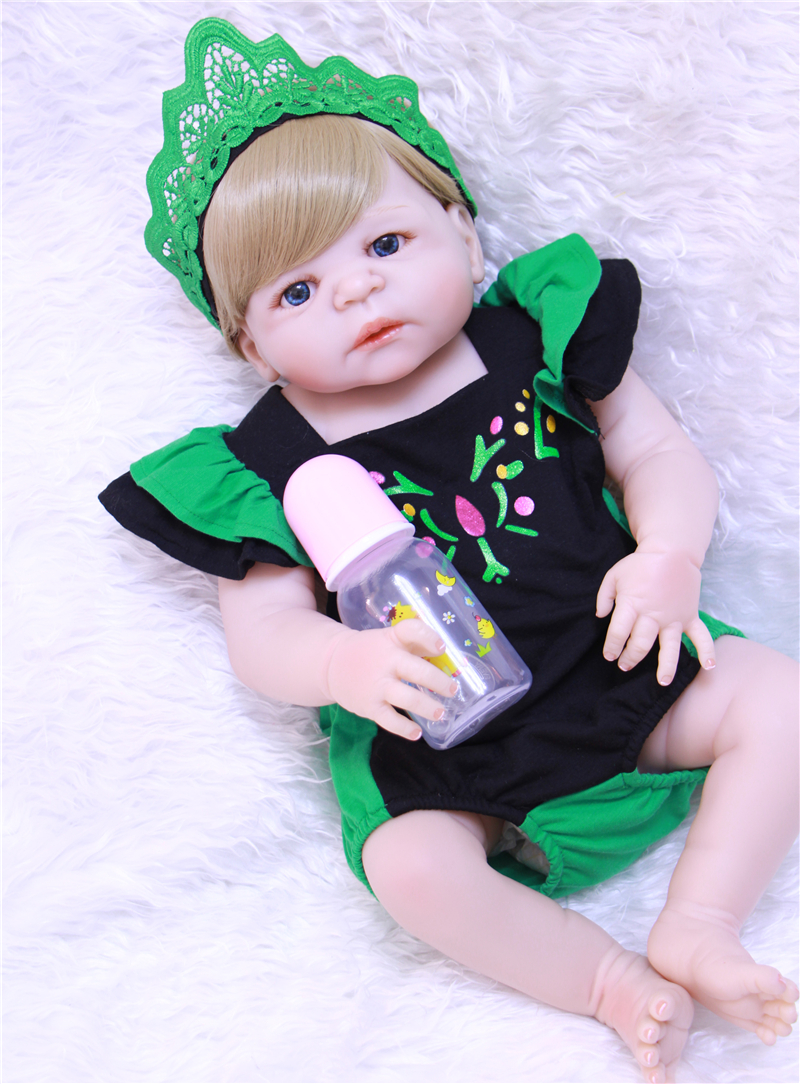 2018 Popular toy gift Full Body Silicone Reborn Baby Doll Toys For Girls Bonecas Newborn Princess Bebe Alive Babies Bathe Toy