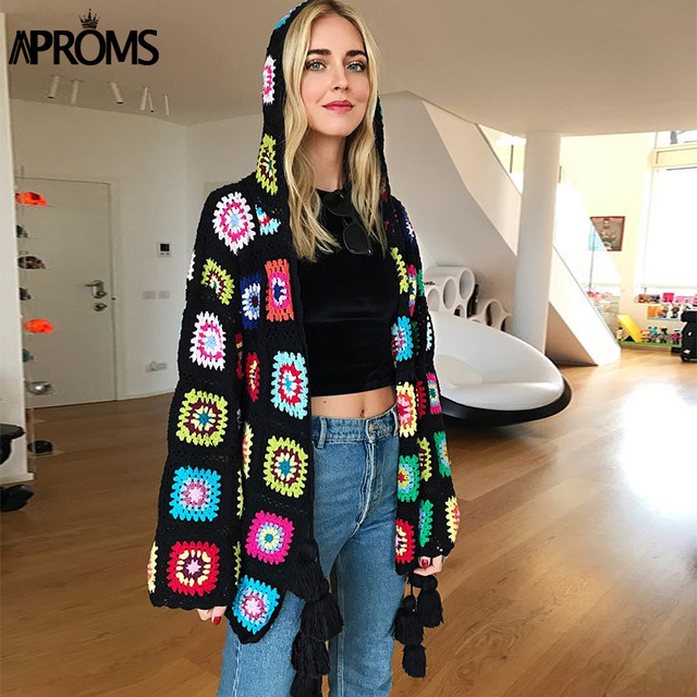 36e319e62f Aproms Multi Color Handmade Crochet Cardigan Female Autumn Boho Tassels  Knitted Hooded Sweater Women Winter Knit Outwear Coats