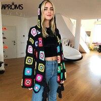 Aproms Multi Color Handmade Crochet Cardigan Female Autumn Boho Tassels Knitted Hooded Sweater Women Winter Knit Outwear Coats