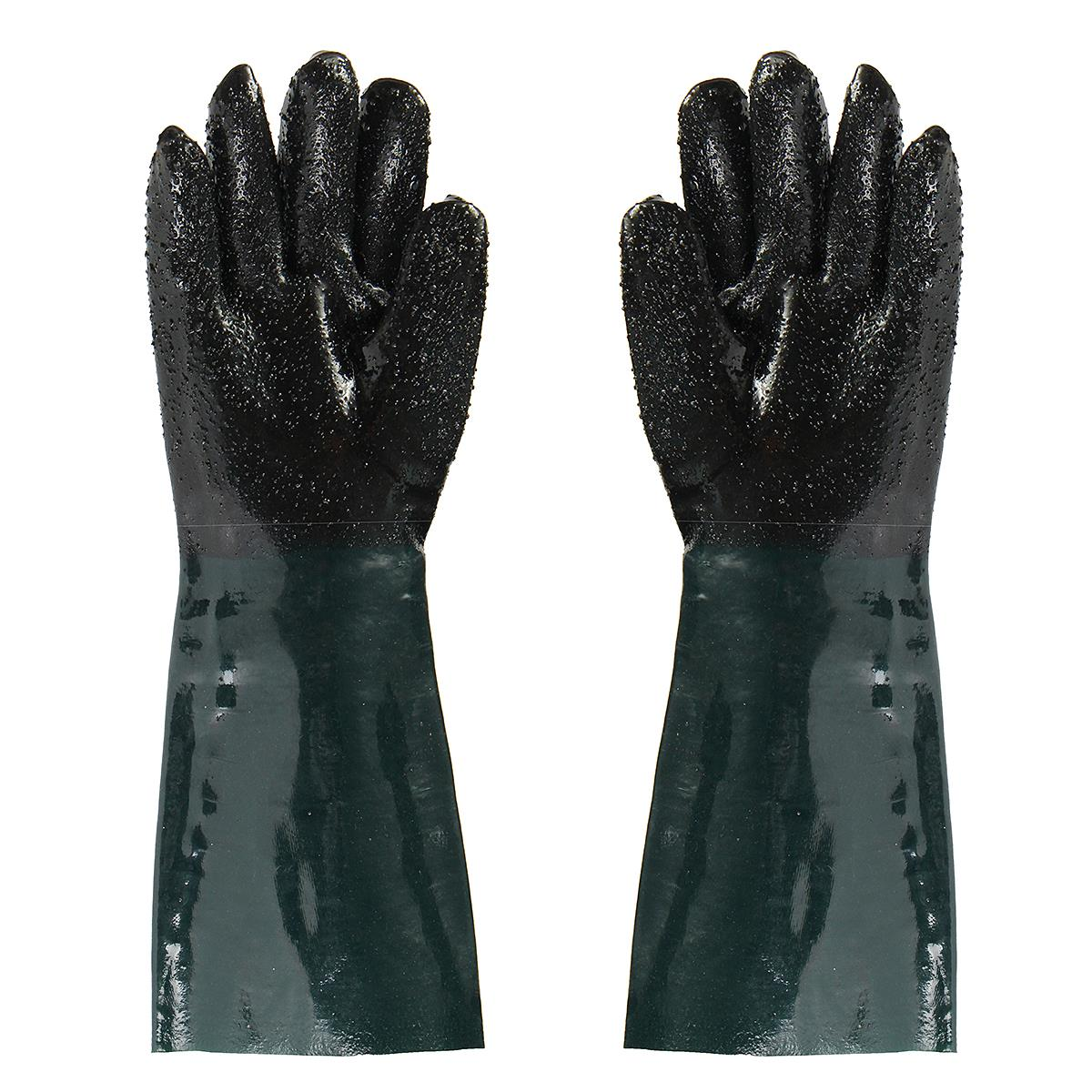 NEW 48CM Rubber Sandblaster Sand Blaster Sandblasting Gloves For Sandblast Cabinets Safety Glove pvc sandblaster gloves 60cm