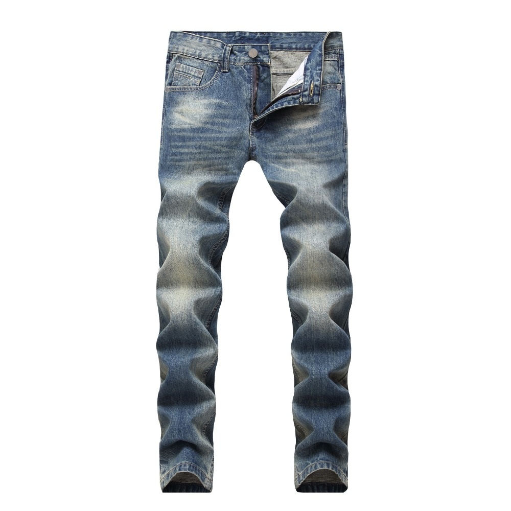 Casual Jeans Men Vintage Slim Straight Biker Jeans Fashion For European and American Pant Male Denim Pant Plus Size