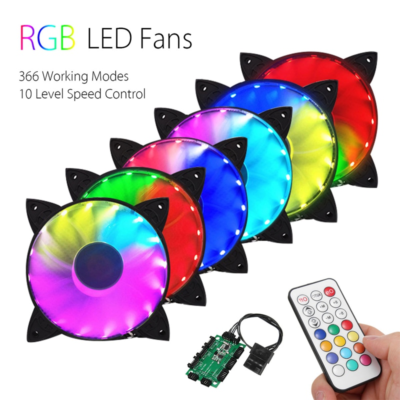 Купить 6Pcs Rgb Adjustable Led Cooling Fan 120Mm With Controller Remote For Computer High Quality Computer Cooling Cooler Fan For Cpu