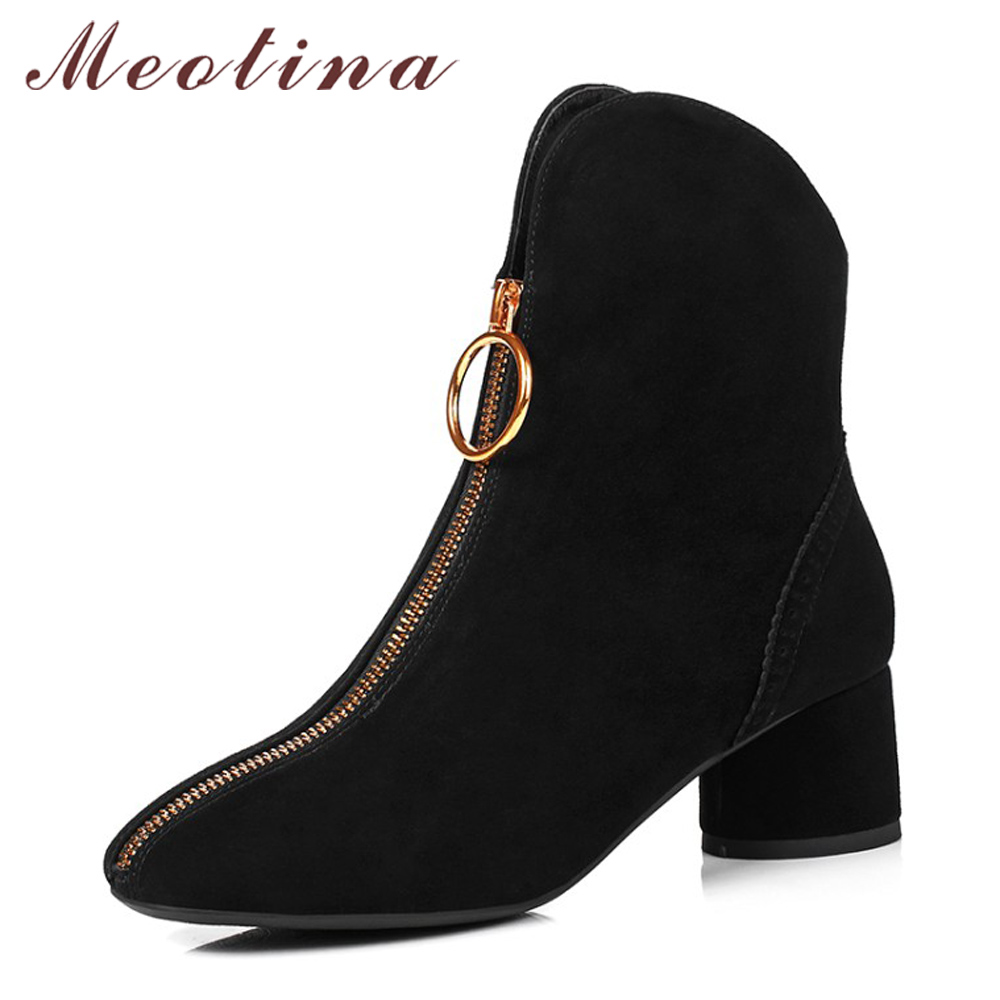 Meotina Genuine Leather Shoes Women Ankle Boots Square Toe Western Boots Zip Thick High Heel Shoes Big Size 43 44 botas mujer meotina genuine leather women ankle boots winter block high heel boots leather boots pointed toe female autumn shoes big size 42