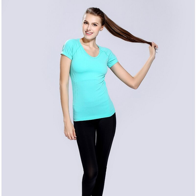 Delle donne di Sport T Shirt Quick Dry Abbigliamento Sport Fitness Palestra Corsa e Jogging Da Jogging Camicette Activewear Yoga Magliette e camicette T-Shirt Sport Top Palestra XL