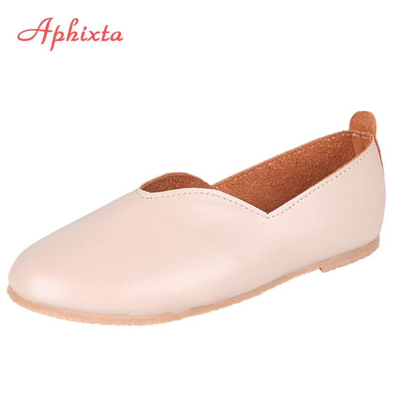 Aphixta New Large Size Shoes Women Flats Loafers Slip-On Female Mother Loafers Footwear Flexible Leather Boat Shoes Moccasins new genuine leather women s casual shoes slip on woman flat shoe flexible women loafers moccasins female footwear big size 35 40