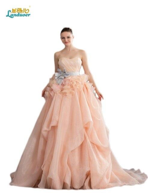 Elegant Rush Ruffly Waist Champagne Organza Wedding Dresses Bow Sash Gown Vestido De Novia Sereia