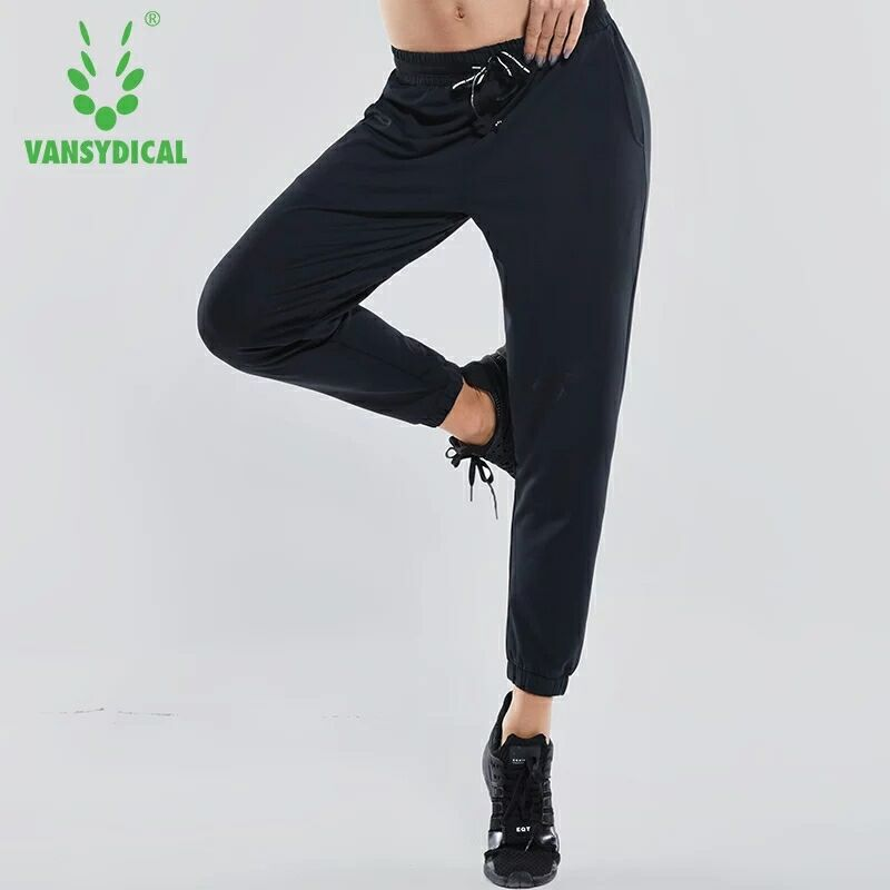 2018 Women Elastic Waist Running Jogging Pants Breathable Training Trousers Female Autumn Loose Exercise Sports Pants Yoga Trous