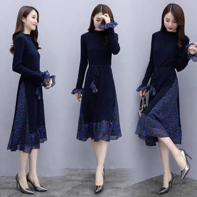 2019 new style autumn dress slim dress knit large size fashion long dress