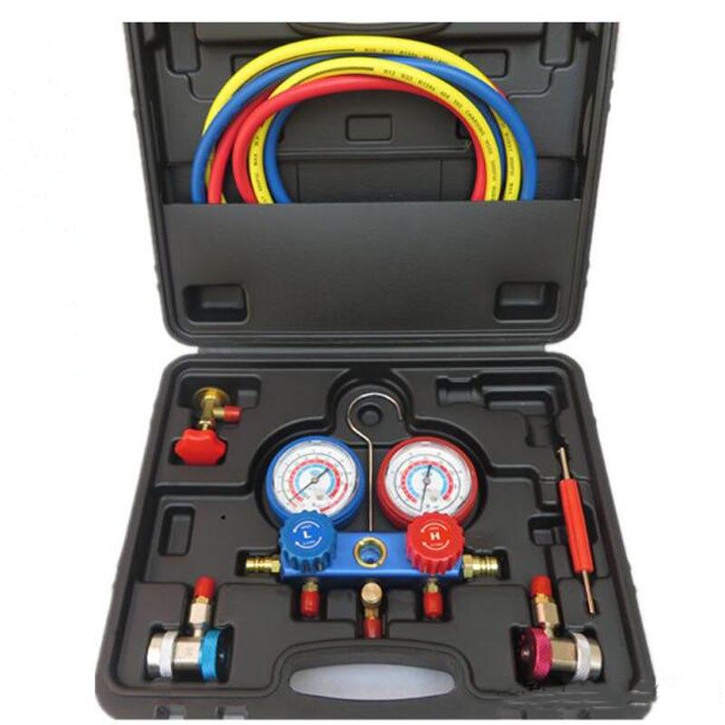 Groupe de manomètre réfrigérant de climatisation R12 R22 R134a R404a 410a outil de remplissage de fluor de réparation de climatisation de voiture