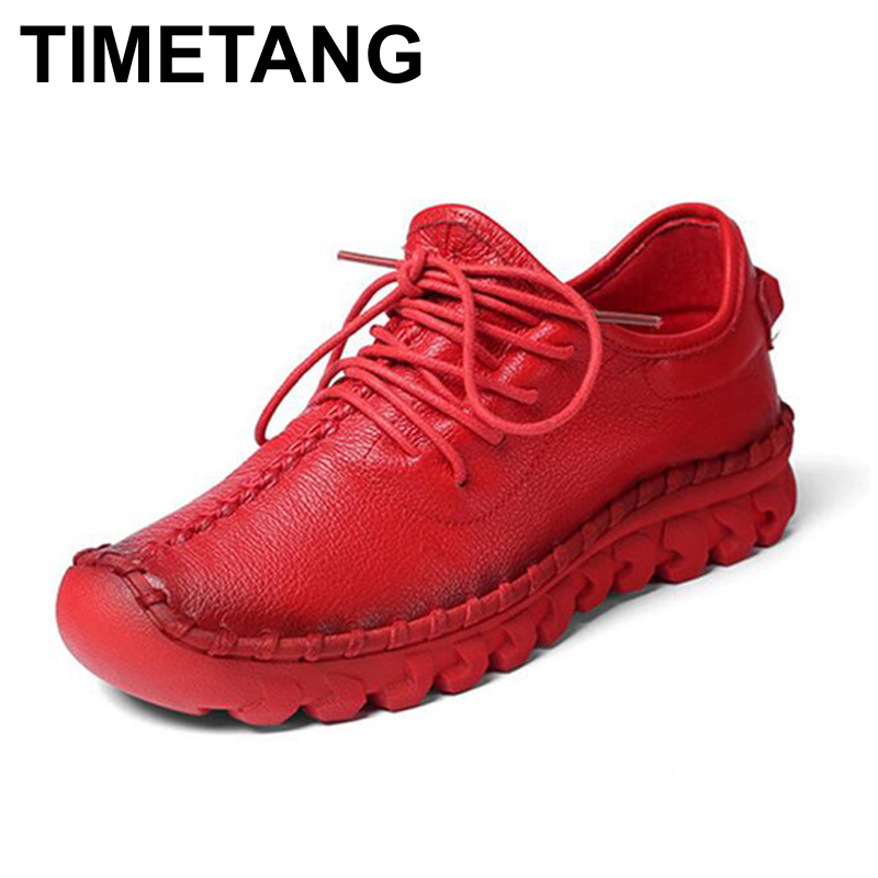 TIMETANG Handmade leather flat shoes women female casual shoes women flats shoes slip on leather car styling flat shoes z552