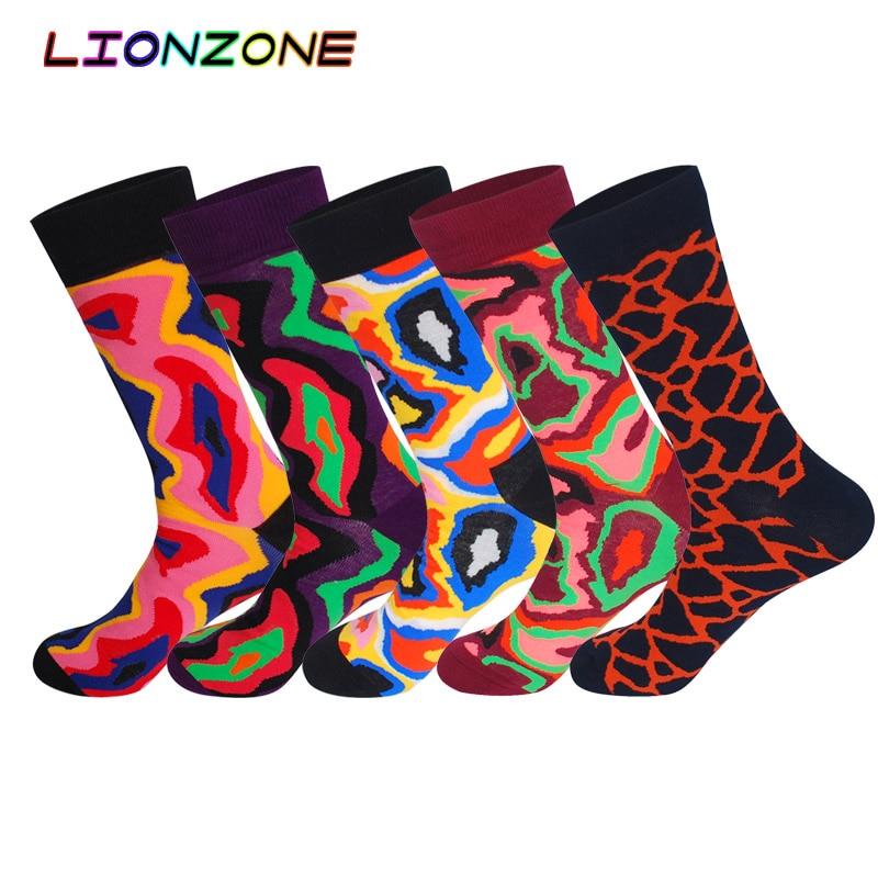 Lionzone 5Pairs Neutral Lot Socks Funny Personality Lovers Street Tide Soft Comfortable Long Happy Socks Men Dress Sock
