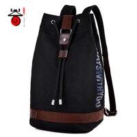 2017 New Men Canvas Backpack Fashion Drawstring Bag For Teenagers Men Women Casual Travel Rucksack Bucket