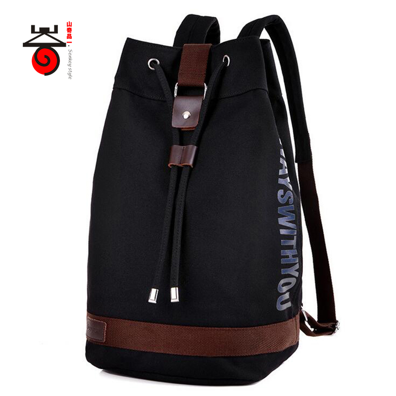 Senkey style Men Canvas Backpack Fashion Drawstring bag Teenagers Men Women Casual Travel Rucksack Bucket Bag Student School Bag