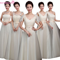 pretty champagne one shoulder bridesmaids tulle bridesmaid dress women brides maid dresses formal women gown for woman B3495