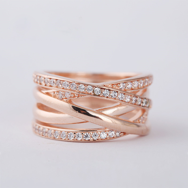 Authentic 925 Sterling-Silver-Jewelry Rose Gold Plated Wedding Ring with Crystal Silver Rings For Women Free Shipping
