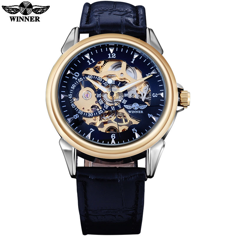 winner men women fashion military hand wind mechanical skeleton watches male PU leather strap golden black dial back cover glass winner arrival glass men skeleton watches elegant simple pierced charm mechanical hand wind business and fashion style