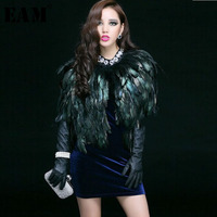 [EAM] 2019 New Spring Round Neck Sleeveless Personality Blue Feather Split Joint Shawl Vest Women Fashion Tide B0