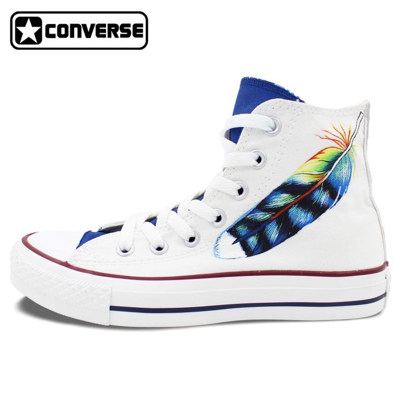 Prix pour High Top Chaussures Converse All Star Blanc Personnalisé Plume Design Original Peint À La Main Sneakers Garçons Filles De Noël Cadeaux