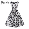 Rosetic Women Dress Spring Black Floral Print Party Festa Dresses Sleeveless Bowknot Sashes Summer Dresses Fashion Vintage Dress