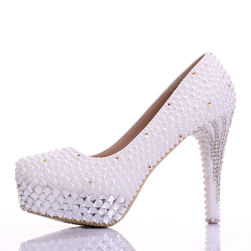 Handmade White  Crystals and Pearl Popular Formal Shoes High Heels Wedding Dress Shoes Princess Women Party Prom Pumps