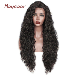 Loose Curly Synthetic Lace Front Wigs Heat Resistant Natural Hair Wigs For Women 180 Density