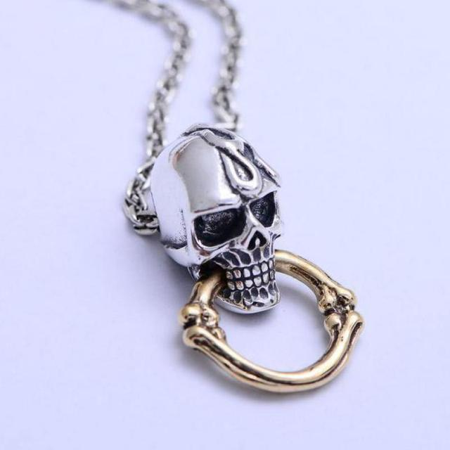 Real pure 925 sterling silver skull pendant for women and men real pure 925 sterling silver skull pendant for women and men vintage cool with gold color mozeypictures Image collections