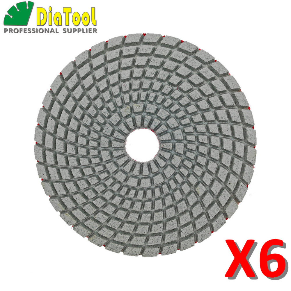 DIATOOL 6 Pcs 5 Inches Sanding Discs For Granite Marble Stone Tile Polishing Dia 125mm Wet White Bond Polishing Pads