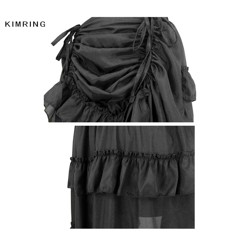 956da1e91 ... Kimring Vintage Women Steampunk Brown Skirt Victorian High Waist Skirts  with Corset Sexy Gothic Style Halloween ...