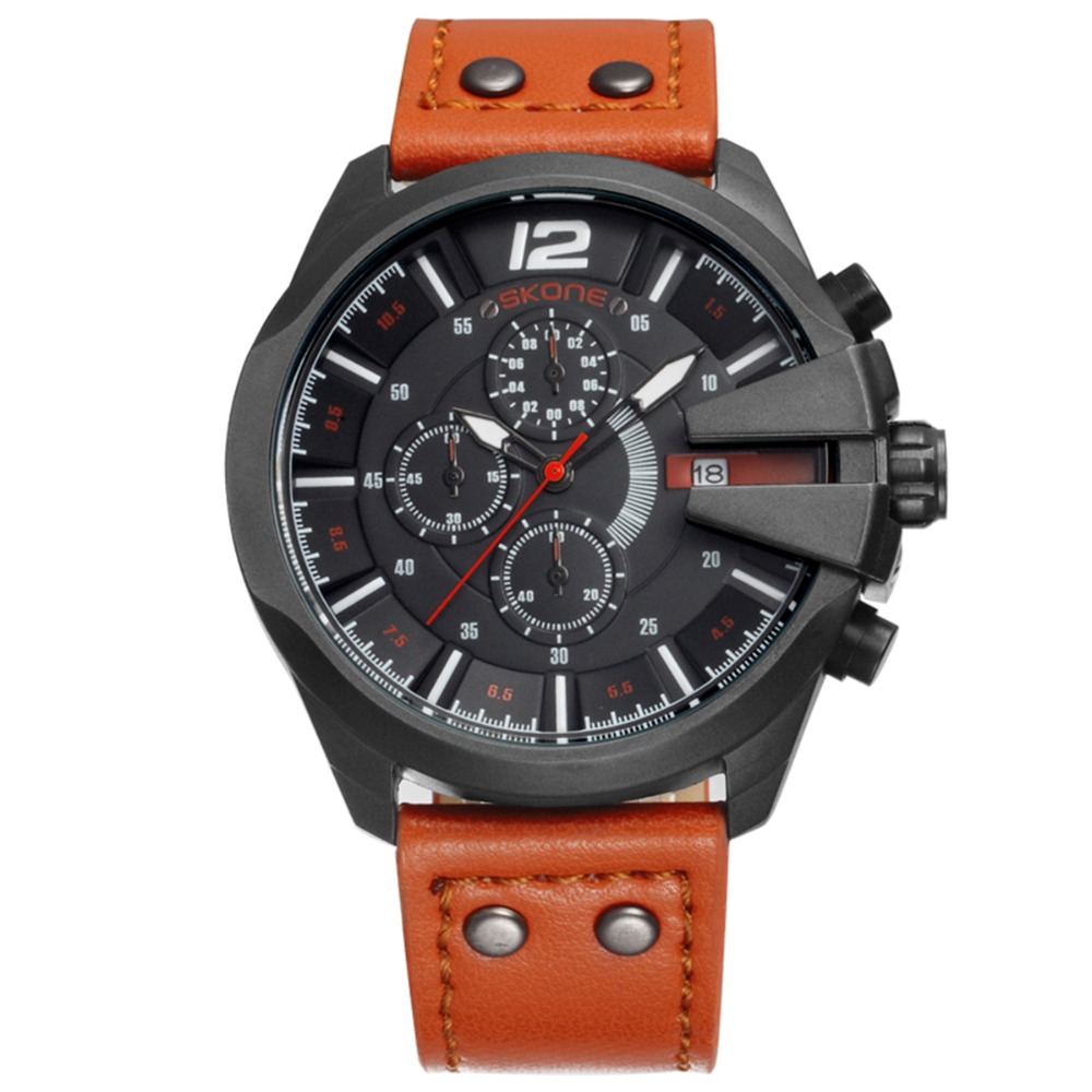 nice watch brands for men promotion shop for promotional nice 2016 skone brand for mens sports casual quartz watches relogio masculino calendar waterproof leather strap nice discount outdoor