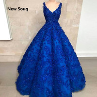 Royal Blue Ball Gown Quinceanera Dresses with 3D Flowers Crystal Sweet 16 Dresses 2019 Custom Made Long Prom Dress