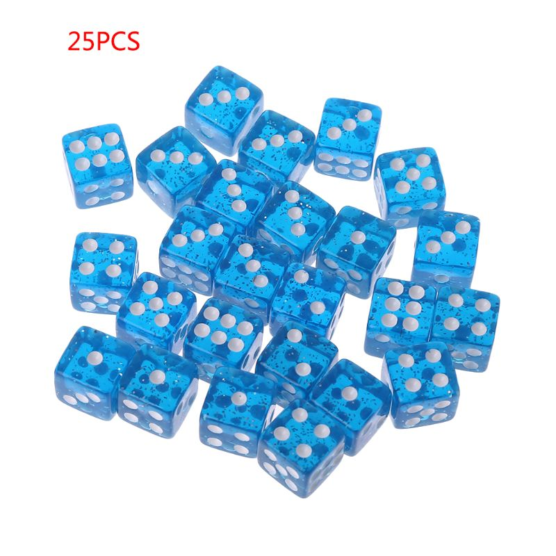 25Pcs/Set Party Game Dice 12 Square Transparent Dices Colorful Club Play Gifts For Dungeon D & D Desktop Table Games