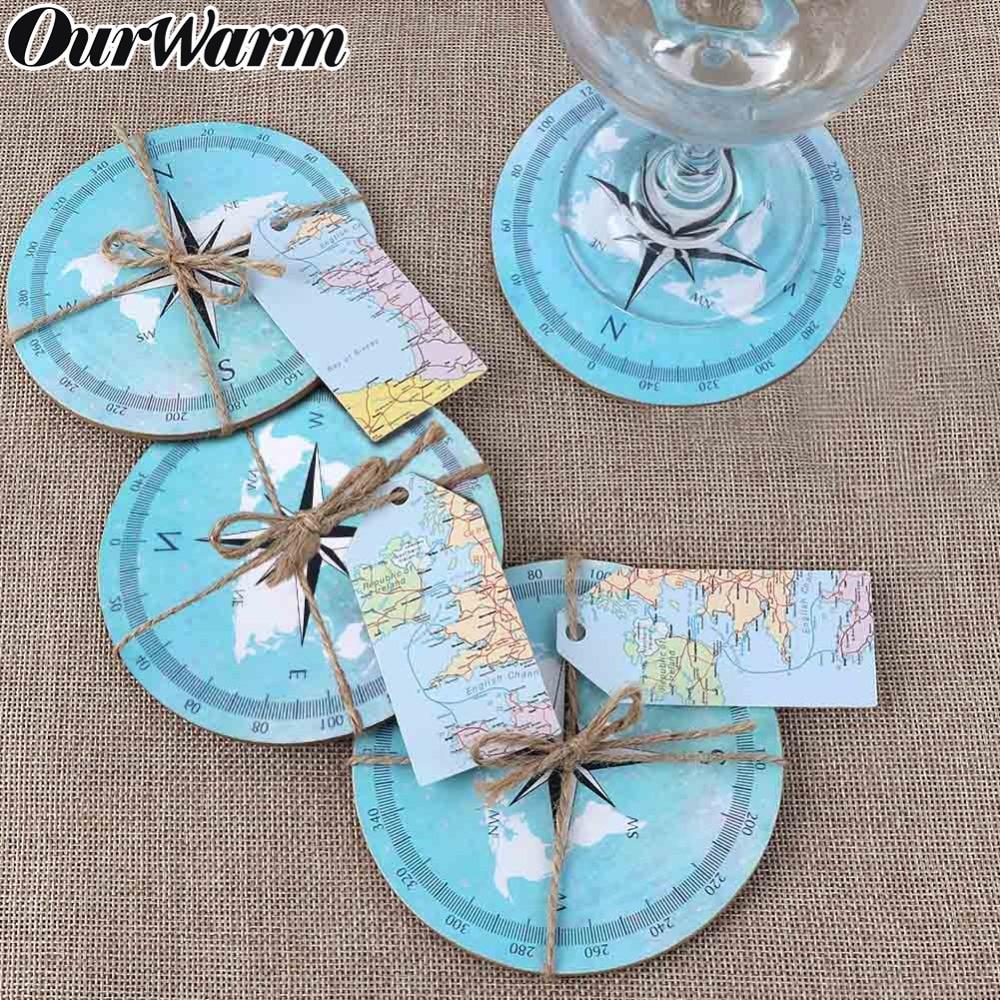 OurWarm 10pcs Travel Theme Wedding Compass Coasters