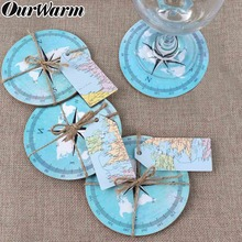 OurWarm 10pcs Travel Theme Wedding compass Coasters Gifts for Guests Souvenirs Round Cork Coaster Waterproof non-slip