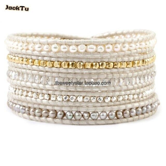 2016 women pearl nuggets white leather wrap bracelet