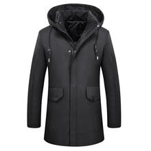 2017 New Fashion Long Winter Jacket Men Cotton Warm Jacket Zipper Parkas Wear Masculina Outwear Comfortable Mens Winter Parkas
