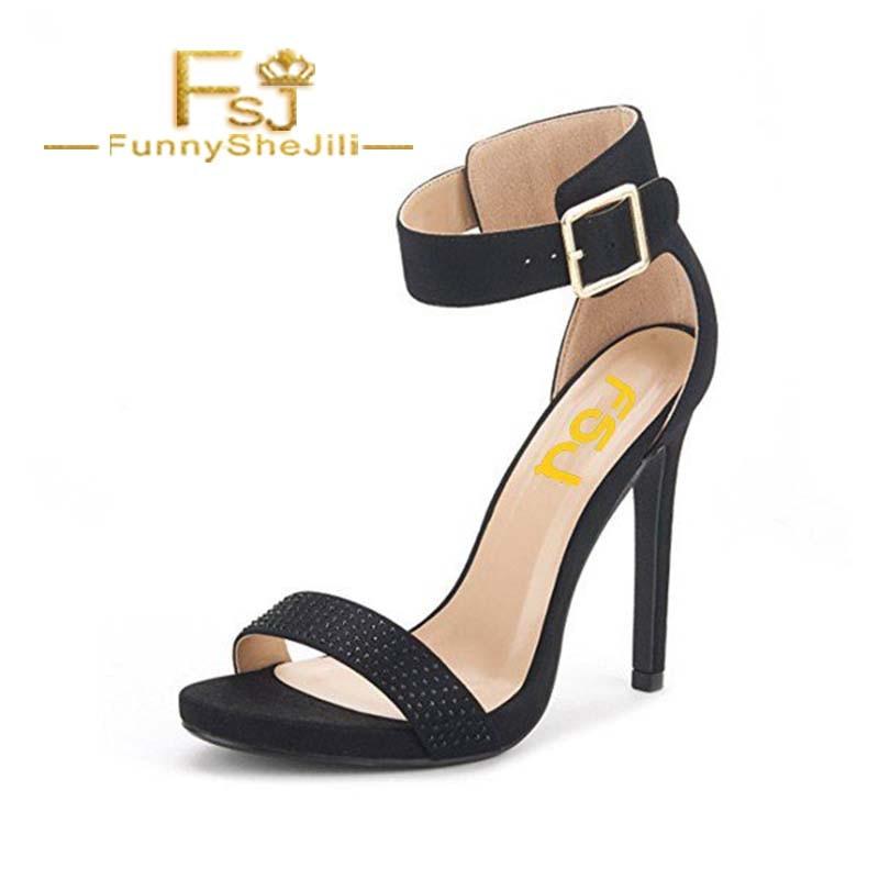 Women's Black Rhinestone Commuting Stiletto Heel Ankle Strap Sandals Incomparable Generous Attractive Noble Fashion FSJ Sexy