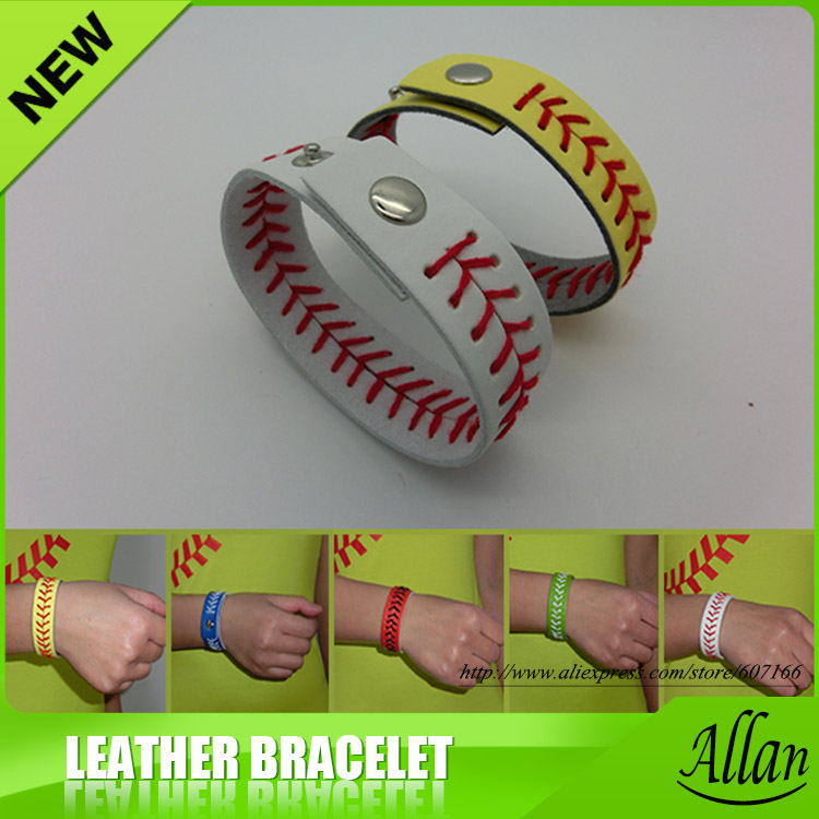 Whole High Quality Fast Free Shipping Bright White Leather Baseball Softball Red Sching Seam Real Bracelets In Chain Link From