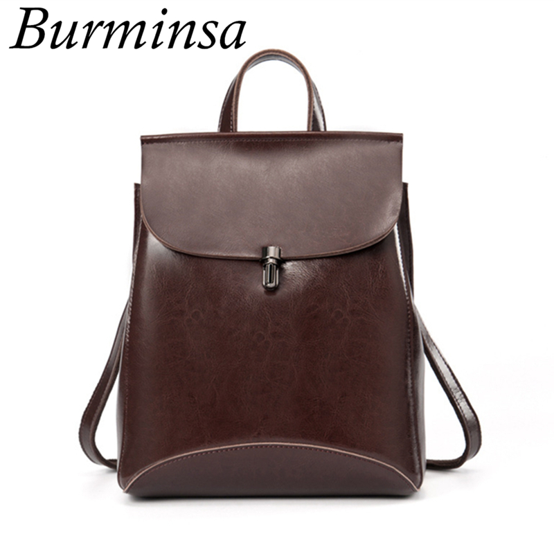 Korean Style Genuine Leather Backpack Women's Designer Brand Travel Bagpack School Bags For Teenage Girls Mochila Feminina 2017