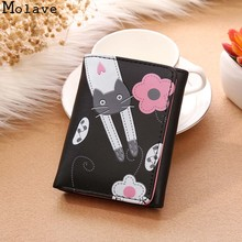 MOLAVE wallet Women Cat Flowers Pattern Hasp Coin Short Card Holders Handbag Purse fashion wallet female famous dec20(China)