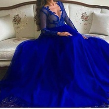 Gorgeous long sleeves muslim evening dress Arabic A line crystal black prom 2016 lace party formal gown