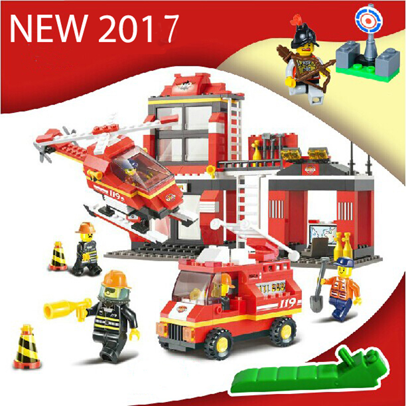 Sluban 0225 Fire Station Building Bricks Blocks Sets Christmas gifts Toy Compatible Lepine city Firefighters Rescue 84005 228pcs military ship kazi warship building bricks blocks sets christmas gift toy compatible with city destroyer