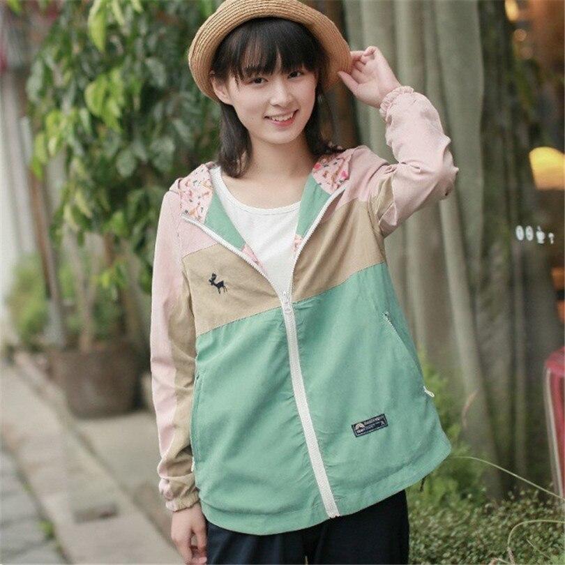 Japanese Mori Girl  Jacket Both Side Wear Hooded Jacket 2019 Spring Cartoon Deer Animal Zipper Pocket Cotton Outwear Coat