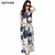 Для женщин без рукавов длиной макси хлопок льняное платье женские летние Повседневное Винтаж Цветочный принт платья Костюмы Vestido Robe Longue