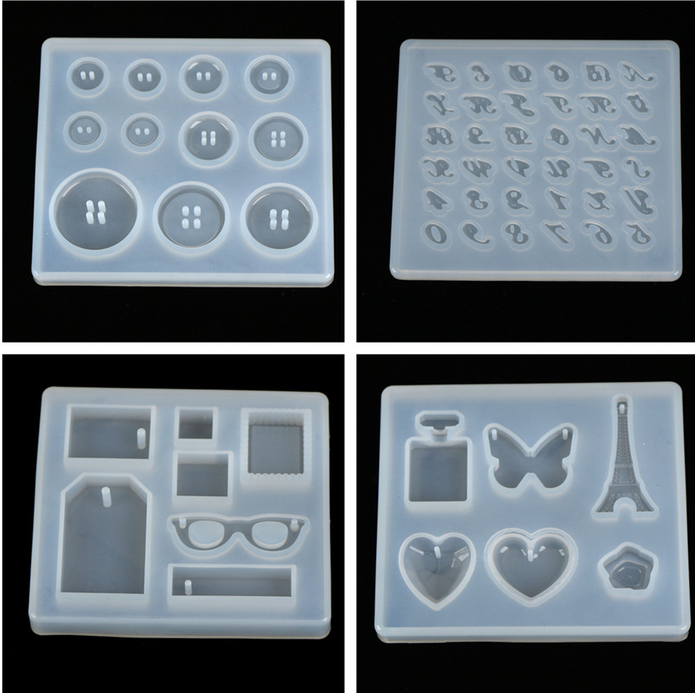 DIY Silicone Mold Resin Buttons Heart Letter Pendant Jewelry Making Mould Epoxy Pendant Craft Tool Handmade
