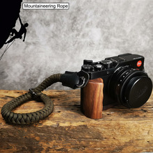 Climbing Nylon rope Genuine Leather Camera Wrist Strap Hand