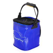 Outdoor Bucket Barrel Water Container Fishing Tackle Camping Foldable EVA Rope Belt Fishing Bag Collapsible Hiking Blue
