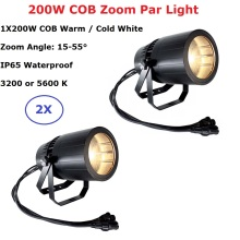 Professional Outdoor Lighting LED Par COB 200W Warm / Cold White Aluminium Stage Lighting Effect COB Zoom Par Light Party Light