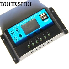 BUHESHUI 10Pcs/lot Solar Panel Controller LCD Display Solar Regulator Battery Charger System 360W/720W 30A 12V/24V With Dual USB